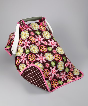 Brown & Pink Bloom Gal Car Seat Canopy