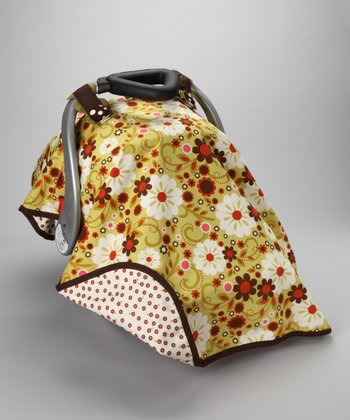 Olive Floating Petals Car Seat Canopy