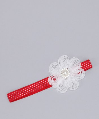 Red & White Antique Pearl Flower Headband