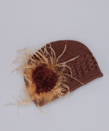 Brown Camel Feather Knit Beanie