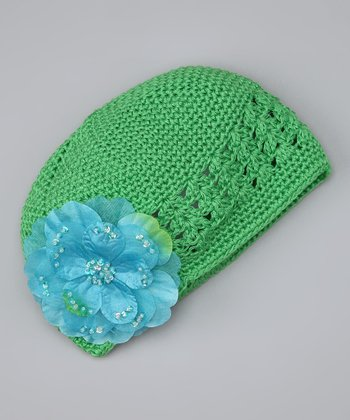 Green & Turquoise Flower Knit Beanie - Infant