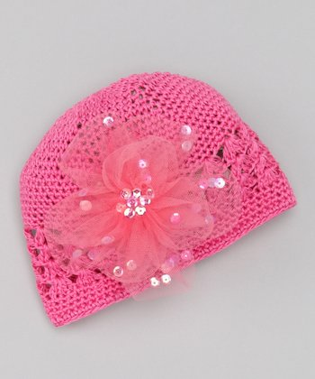Hot Pink Flower Knit Beanie