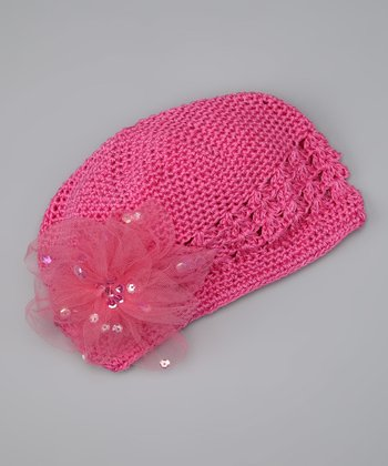 Hot Pink Sequin Flower Knit Beanie - Infant