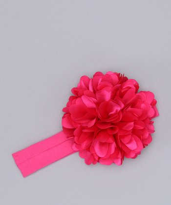Hot Pink Heart Flower Headband