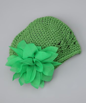 Green Flower Knit Beanie