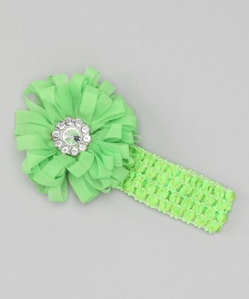 Lime Ribbon Flower Crocheted Headband