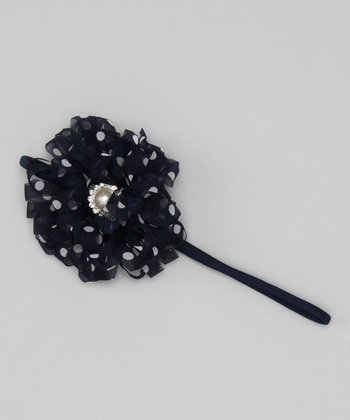 Navy Polka Dot Flower Headband