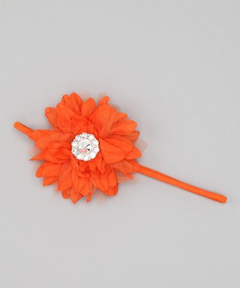 Orange Taffeta Flower Headband
