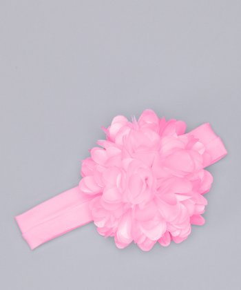 Pink Heart Flower Headband