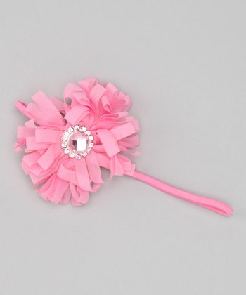 Pink Ribbon Flower Headband