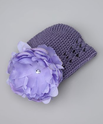 Purple Peony Knit Beanie - Infant