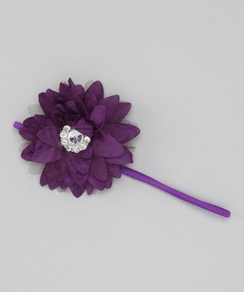 Purple Taffeta Flower Headband