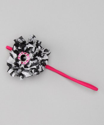 Hot Pink Zebra Flower Headband