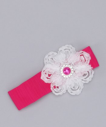 Hot Pink & White Antique Flower Headband