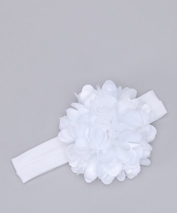 White Heart Flower Headband