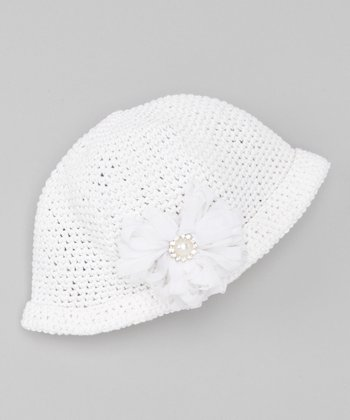 White Flower Knit Beanie