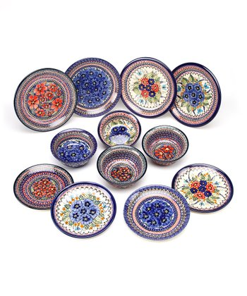 Family Traditions Blue & Salmon 12-Piece Dinnerware Set