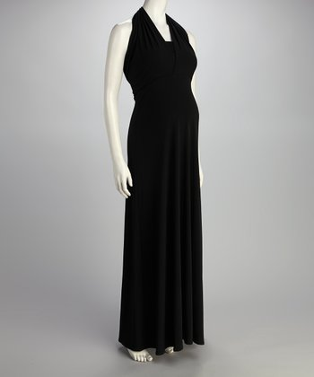 Black Elegant Convertible Maternity Maxi Dress