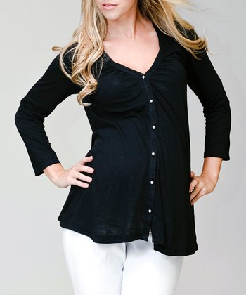 Pour Deux Black Maternity V-Neck Button-Up Top - Women