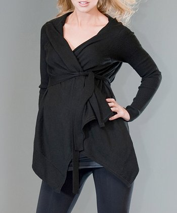 Black Maternity Wrap Top