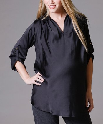 Black Cuffed Maternity Top