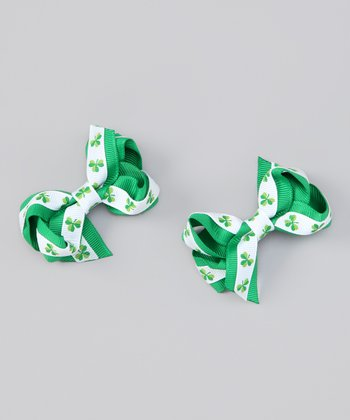 Green Shamrock Bow Clip Set