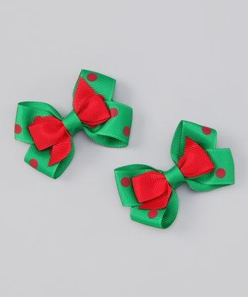 Red Polka Dot Double Stack Mini Bow Clip Set