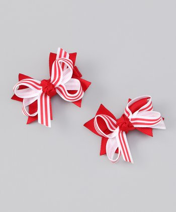 Red & White Stripe Bow Clip Set