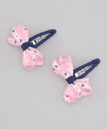 Pink & Navy Nautical Bow Clip Set