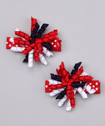 Red & Navy Americana Korker Clip Set