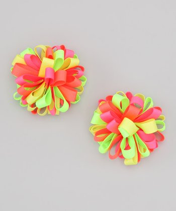 Lime Neon Puffy Clip Set