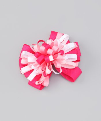 Pink Whirly Bow Clip