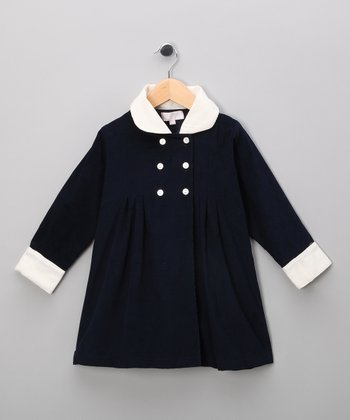 Blue Corduroy Double-Breasted Jacket - Infant, Toddler & Girls