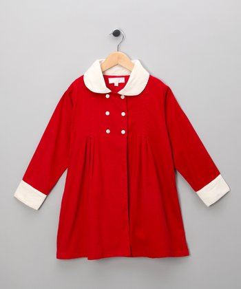 Red Corduroy Double-Breasted Jacket - Infant, Toddler & Girls