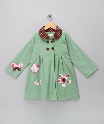 Green Flower & Butterfly Corduroy Coat - Infant, Toddler & Girls
