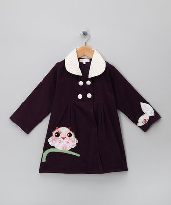 Purple Owl Corduroy Coat - Infant, Toddler & Girls