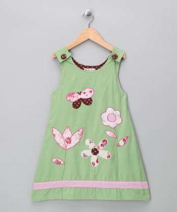 Green Flower Corduroy Jumper - Infant, Toddler & Girls