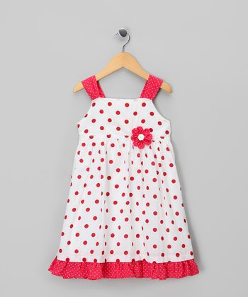 Red & White Polka Dot Dress - Infant, Toddler & Girls