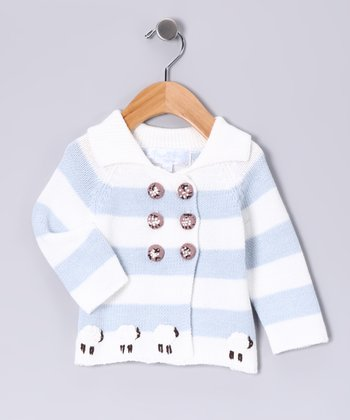 Blue Stripe Sheep Hand-Knit Cardigan - Infant