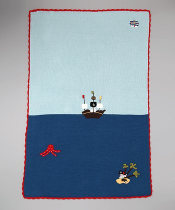 Blue & Red Pirate Receiving Blanket