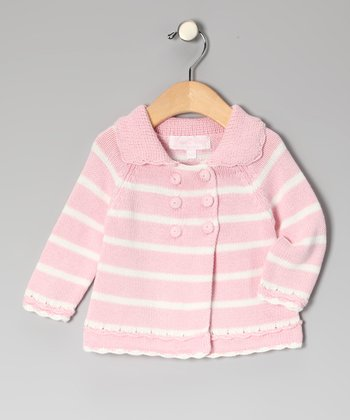 Pink & White Stripe Cardigan - Infant & Toddler