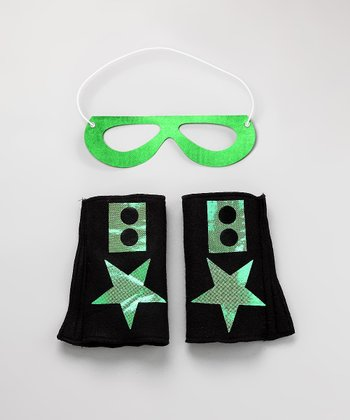 Black & Lime Green Hero Mask & Cuffs