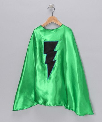 Kelly Green & Black Lightning Cape