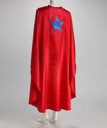 Red & Blue Star Long Cape - Adult