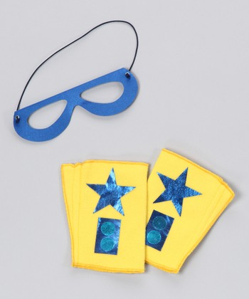 Yellow & Blue Hero Mask & Cuffs