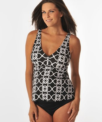 Prego Black & White Chainmail Posh Maternity Tankini