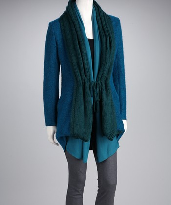 Blue Wool-Blend Layered Cardigan