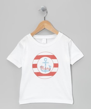 White & Red Anchor Personalized Tee - Infant, Toddler & Kids