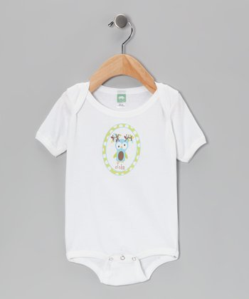 Mint Antler Owl Personalized Bodysuit - Infant
