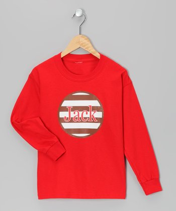 Red & Brown Stripe Personalized Tee - Infant, Toddler & Kids